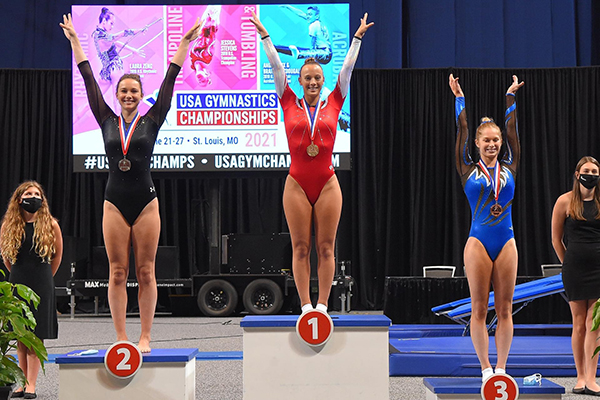 Ahsinger places first at the 2021 USA Gymnastics Championships in women's trampoline.