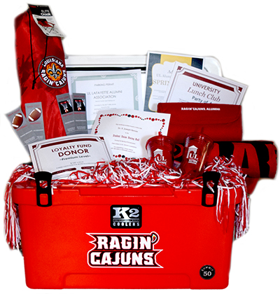 Red, White & Cajun Raffle cooler and prizes