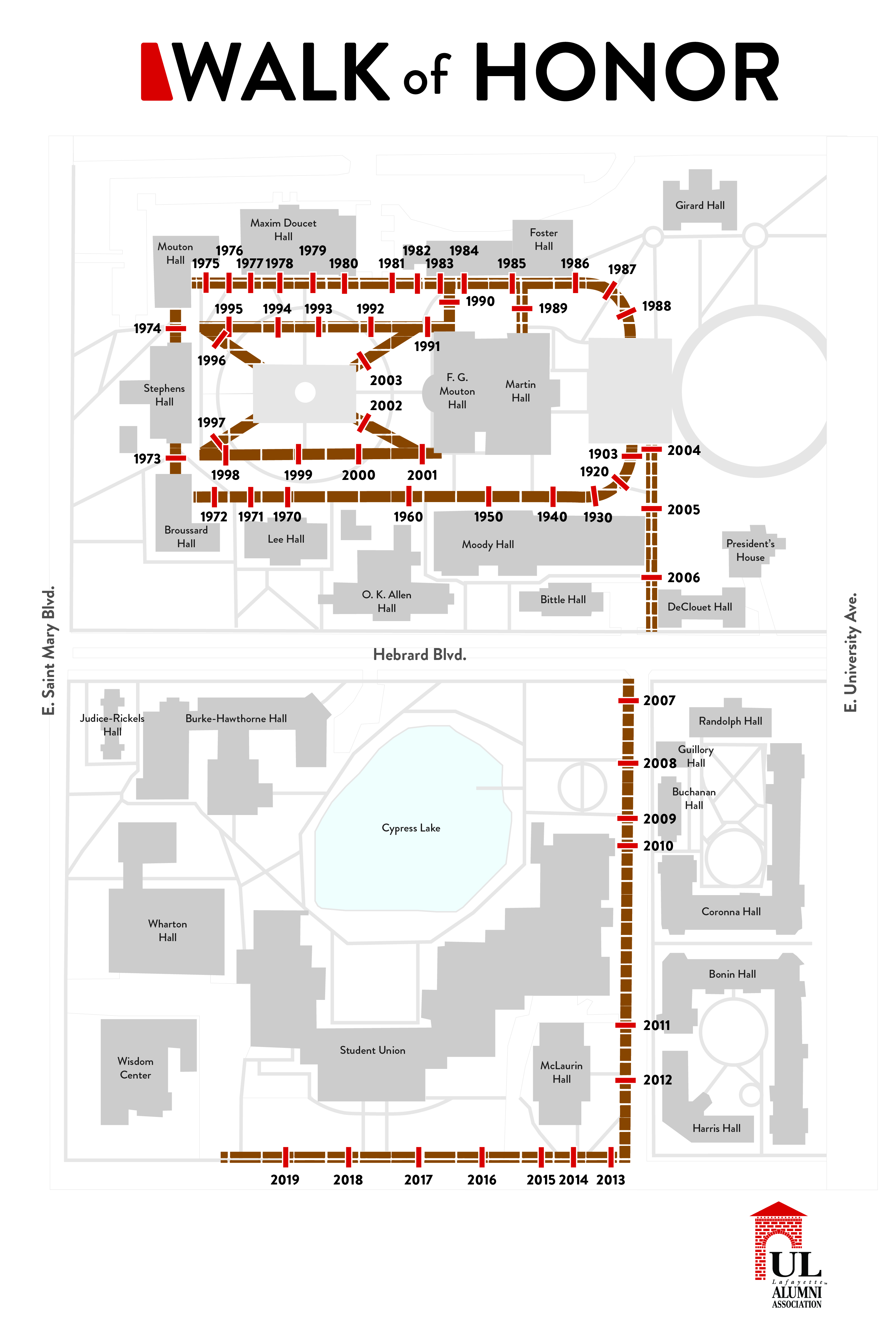 Map of the Walk of Honor