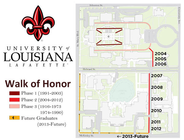 UL Lafayette Walk of Honor Map